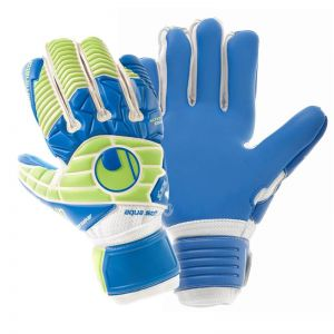 Uhlsport Eliminator Aquasoft Half Negative Windbreaker Goalkeeper Gloves - White/Pacific Blue/Fluo Green