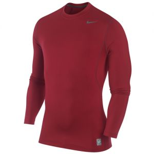 Nike Pro Combat Hyperwarm Long-Sleeve Crew Shirt - Red