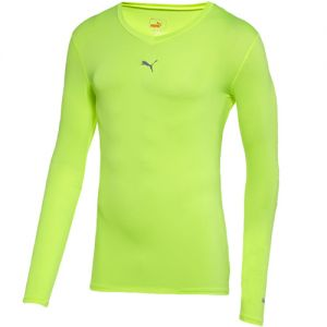 Puma Lite Long-Sleeve V-Neck Compression Tee - Fluorescent Yellow