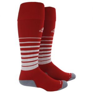 adidas Team Speed Soccer Sock (Large) - Red/White