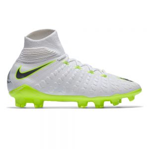 Nike Jr Hypervenom Phantom 3 Elite Dynamic Fit FG - White/Metallic Cool Grey/Volt