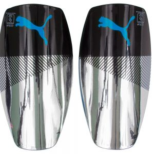 Puma Saber Slip Shin Guards w/ Sleeves - Cyan