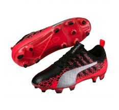 Puma Jr evoPOWER Vigor 1 Graphic FG - Black/Silver/Fiery Coral