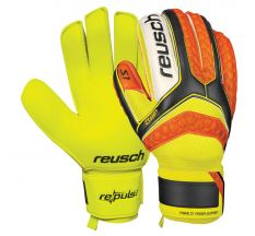 Reusch Pulse S1 Finger Support Goalkeeper Gloves - Orange Palm/Yellow/Black