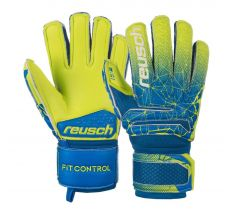 Reusch Jr Fit Control S1 Finger Support Glove - Blue/Lime