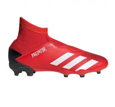 adidas Jr Predator 20.3 Laceless FG - Active Red/White
