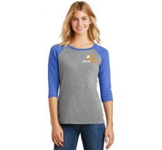 SoccerNation Women's Perfect Tri 3/4 Raglan Tee - Grey/Royal