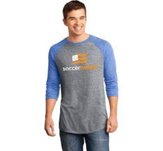 SoccerNation Microburn 3/4 Raglan Tee - Grey/ Royal
