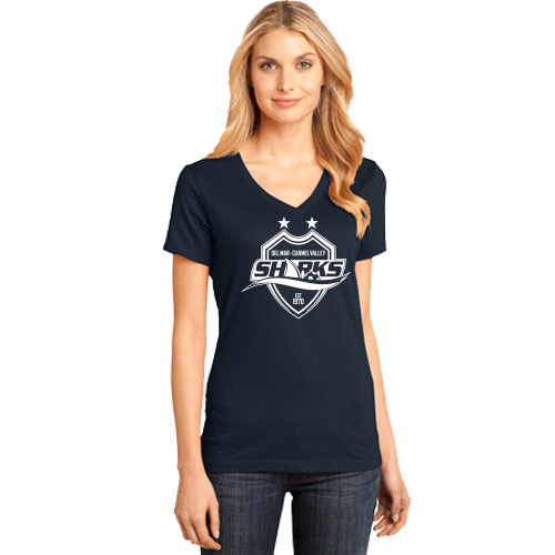 Dm Ladies Perfect Weight V-neck Tee - Navy