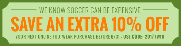 We know soccer can be expensive. Save an extra 10% OFF club pricing on your next online footwear purchase before 3/31 - Use code: 2016FW10