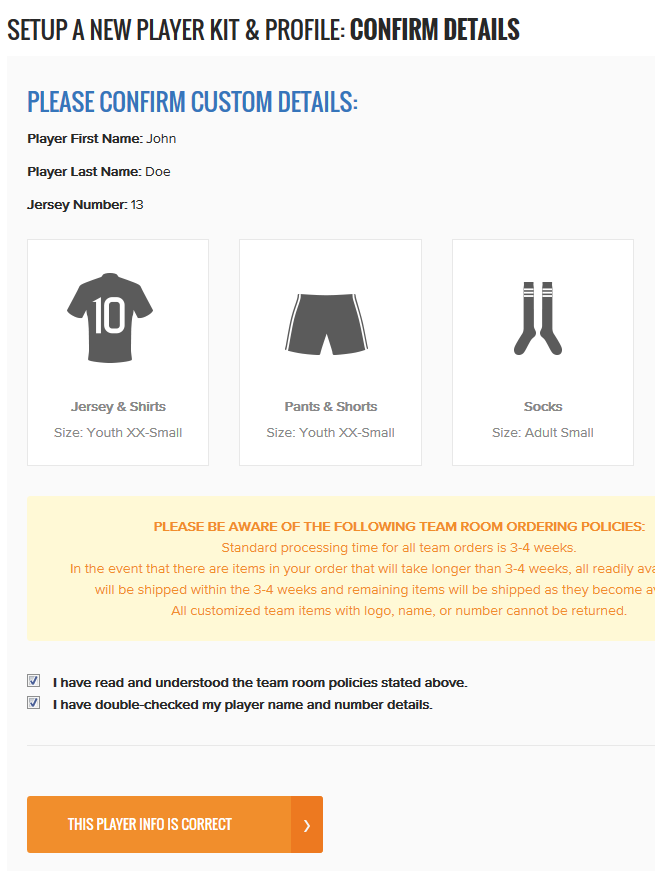Confirm Player Details